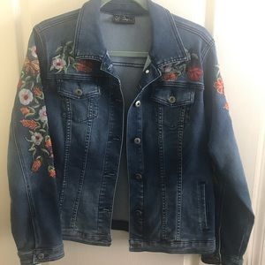 DG2 Floral Embroidered Denim Jacket